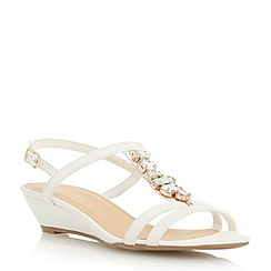 Roberto Vianni - Neutral t-bar jewel trim low wedge sandal