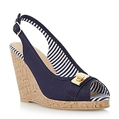 Roberto Vianni - Blue turn lock detail wedge sandal