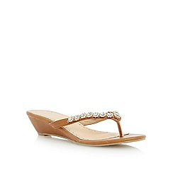 Roberto Vianni - Brown diamante toe post mini wedge sandal