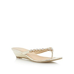 Roberto Vianni - Metallic diamante toe post mini wedge sandal