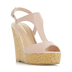 Roberto Vianni - Natural 'Kontour' t-bar raffia wedge sandal