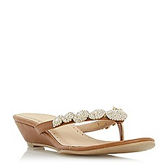 Roberto Vianni - Tan 'Korinne' jewel toe post wedge sandal