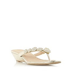 Roberto Vianni - Gold 'Korinne' jewel toe post wedge sandal