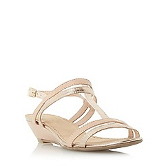 Roberto Vianni - Gold 'Kennon' strappy t-bar wedge sandal