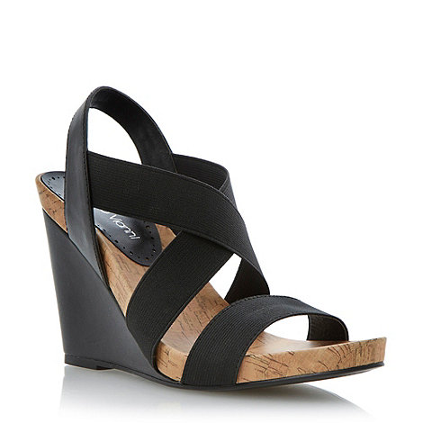 Roberto Vianni - Black elasticated strap wedge sandal