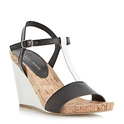 Roberto Vianni - Black & white t-bar footbed wedge sandal