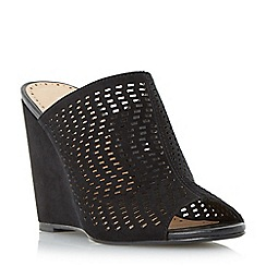Roberto Vianni - Black 'Keller' perforated mule wedge sandal