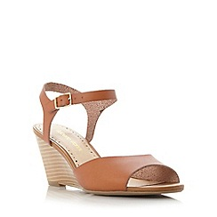 Roberto Vianni - Tan 'Kassy' two part peep toe wedge sandal
