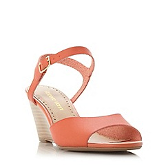 Roberto Vianni - Dark peach 'Kassy' two part peep toe wedge sandal
