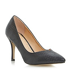 Roberto Vianni - Black sweetheart mid heel pointed toe court shoe