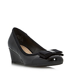 Roberto Vianni - Black bow detail wedge court shoe