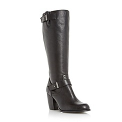 Roberto Vianni - Black 'Trankle' double strap leather knee high boot