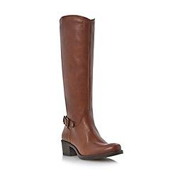 Roberto Vianni - Tan buckle trim leather riding boot