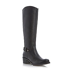 Roberto Vianni - Black buckle trim leather riding boot