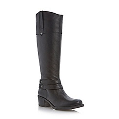 Roberto Vianni - Black strap detail leather riding boot