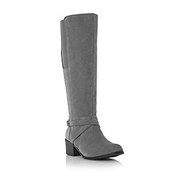 Roberto Vianni - Grey 'Tawnie' buckle detail stretch knee boot