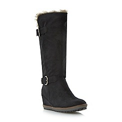 Roberto Vianni - Black wedge heel knee high boot