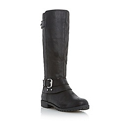 Roberto Vianni - Black 'Tallis' buckle strap knee high boot