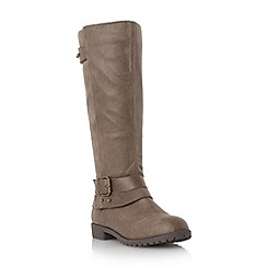 Roberto Vianni - Taupe 'Tallis' buckle strap knee high boot
