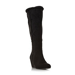 Roberto Vianni - Black 'Trundle' faux fur trim wedge knee high boot