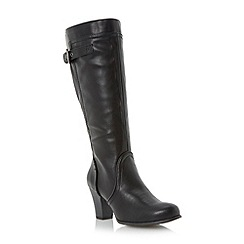 Roberto Vianni - Black buckle detail knee high heeled boot