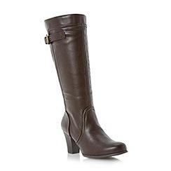 Roberto Vianni - Brown buckle detail knee high heeled boot