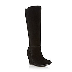 Roberto Vianni - Black 'Sherokee' suede knee high wedge boot