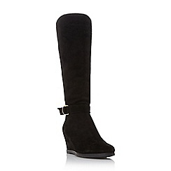 Roberto Vianni - Black 'Savilla' comfort buckle trim wedge knee high boot