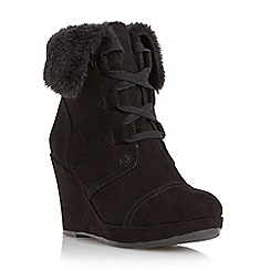 Roberto Vianni - Black 'Poler' faux fur cuff wedge boot