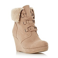 Roberto Vianni - Taupe 'Poler' faux fur cuff wedge boot