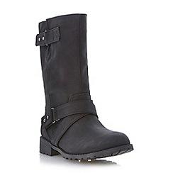 Roberto Vianni - Black crossover strap detail biker calf boot