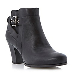 Roberto Vianni - Black buckled strap detail heeled ankle boot