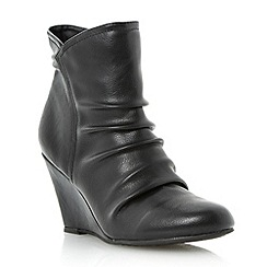 Roberto Vianni - Black wedge heel ruched ankle boot