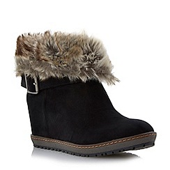 Roberto Vianni - Black faux fur collar concealed wedge ankle boot