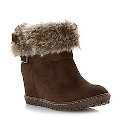 Roberto Vianni - Brown faux fur collar concealed wedge ankle boot
