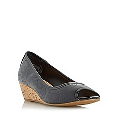 Roberto Vianni - Black 'Chapley' cork wedge peep toe court shoe