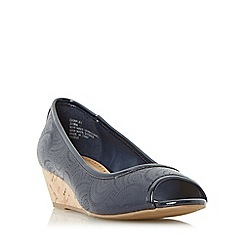 Roberto Vianni - Navy 'Chapley' cork wedge peep toe court shoe