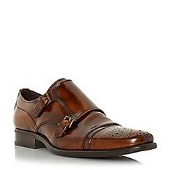 Bertie - Brown 'Reggi' toecap detail leather monk shoe