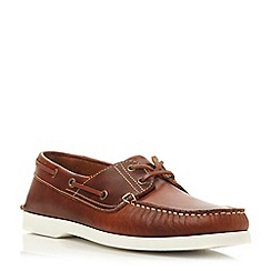 Dune - Tan 'Boat party' white sole leather boat shoe