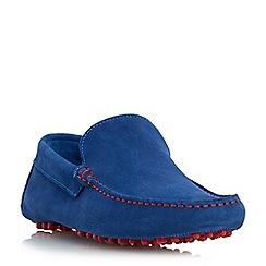 Dune - Blue 'Bermuda' contrast stitch driver loafer shoe