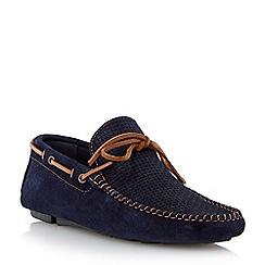 Dune - Navy 'Beachcomber' weave print driver loafer