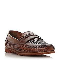 Dune - Tan 'Brighton rock' woven leather loafers