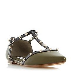 Dune - Khaki 'Heti' stud detail pointed flat shoe