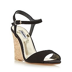 Dune - Black 'Montecarlo' cork effect wedge sandal