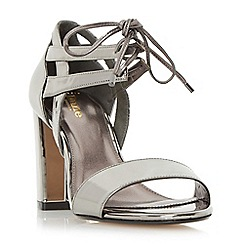 Dune - Silver 'W moroco' wide fit ghillie lace two part block heel sandal