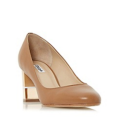 Dune - Tan 'Alucent' round toe perspex heel court shoe