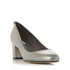 Dune - Silver 'Atlas' round toe block heel court shoe