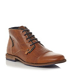 Dune - Tan 'Choppa' blue sole toecap leather lace up boot