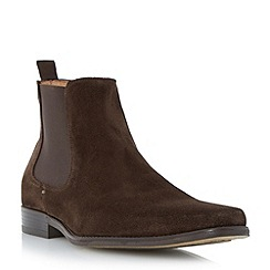 Dune - Brown 'Marky' square toe suede chelsea boot