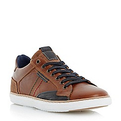 Dune - Tan 'Tailored1' side stitch detail leather trainer